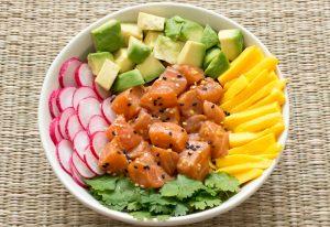 Read more about the article Poke bowl de saumon, avocat, mangue et riz basmati complet