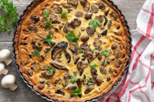 Tarte aux champignons à la farine de châtaigne